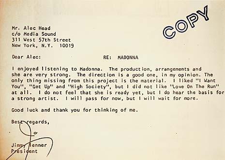 מכתב הדחייה של מדונה